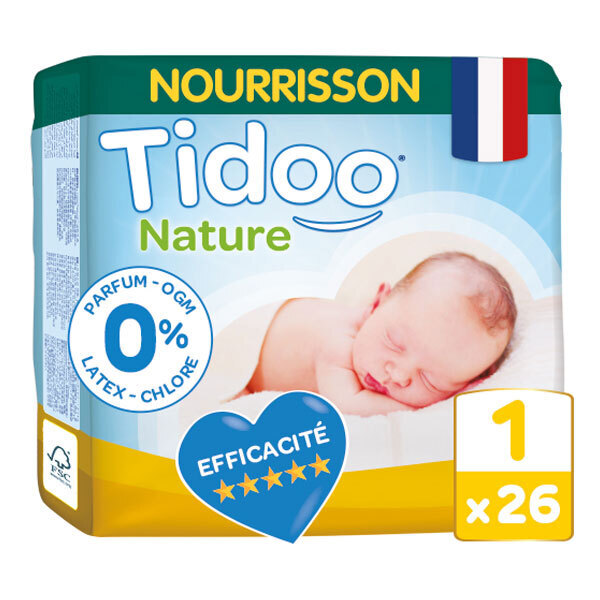 Tidoo - Pack 4x26 Couches T1 2-5kg Hypoallergéniques Nature