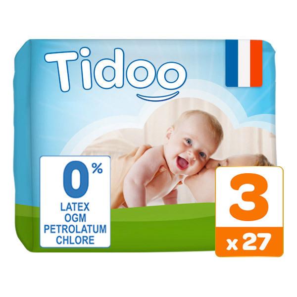 Tidoo - Pack 4x27 Couches T3 4-9kg Hypoallergéniques Nature