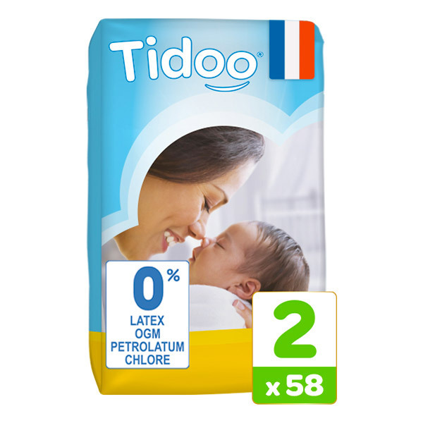 Tidoo - Pack 6x58 Couches T2 3-6kg Hypoallergéniques Nature