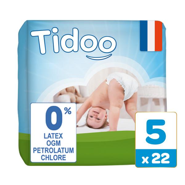 Tidoo - Pack 8x22 Couches T5 12-25kg Hypoallergéniques Nature