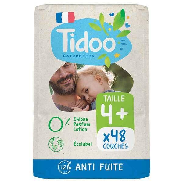 Tidoo - Pack 8x23 Couches T4+ 9-20kg Hypoallergéniques Nature