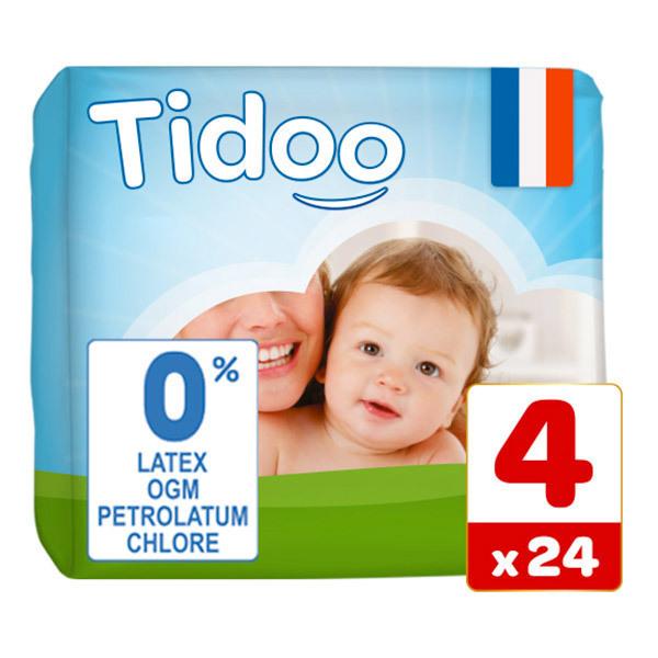 Tidoo - Pack 8x24 Couches T4 7-18kg Hypoallergéniques Nature