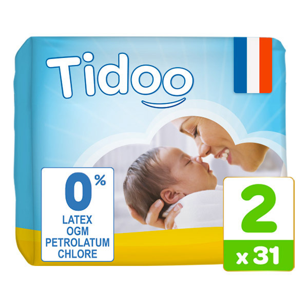 Tidoo - Pack 8x31 Couches T2 3-6kg Hypoallergéniques Nature