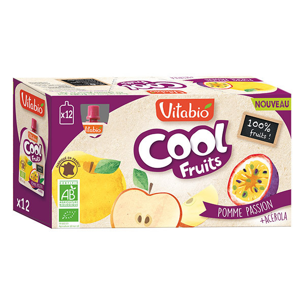 Vitabio - Compotes Cool fruits Pomme passion 12x90g