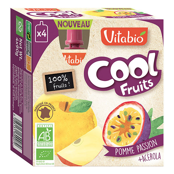Vitabio - Compotes cool fruits pomme passion 4x90g