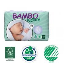 Bambo Nature - 28 couches jetables T1 Newborn 2-4 Kg