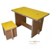 Cartonstyl - Bureau enfant Kipfit en carton - Brut et Jaune