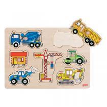 Goki - Puzzle véhicules de chantier - Dès 1 an