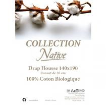 Native - Drap housse 100% coton bio Blanc 140x190cm