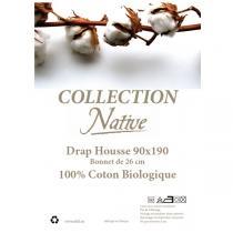 Native - Drap housse 100% coton bio Blanc 90x190cm