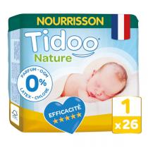 Tidoo - Pack 8x26 Couches T1 2-5kg Hypoallergéniques Nature