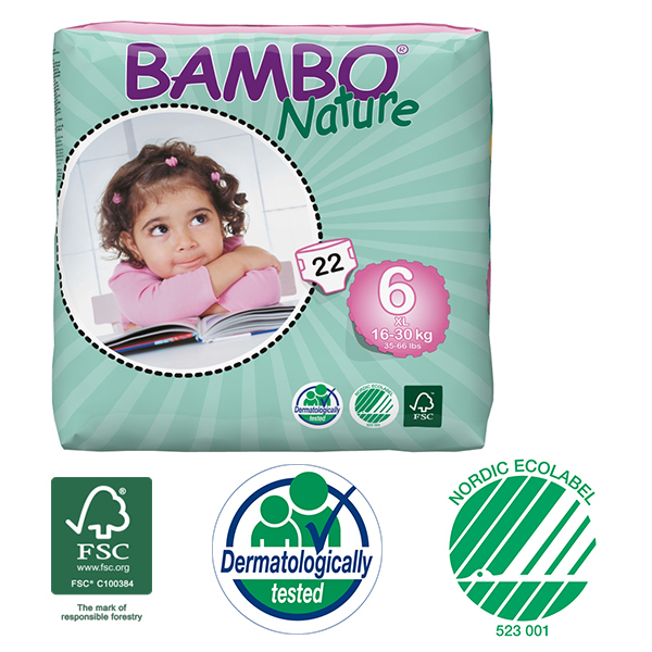 Bambo Nature - Pack 6 paquets 22 couches jetables T6 XL 16-30 Kg