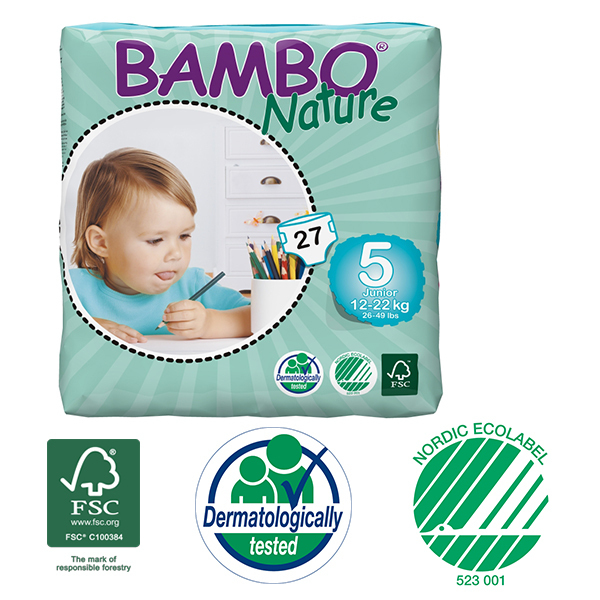 Bambo Nature - Pack 6 paquets 27 couches jetables T5 Junior 12-22 Kg
