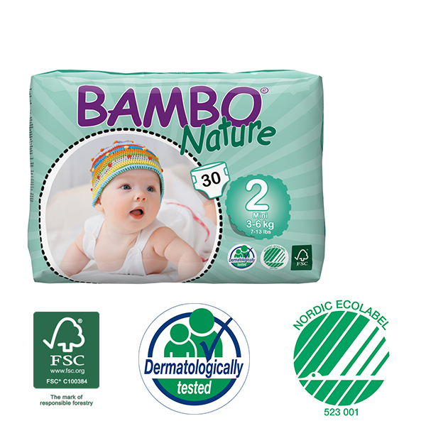 Bambo Nature - Pack 3 paquets 30 couches jetables T2 Mini 3-6 Kg