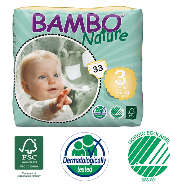 Bambo Nature - Pack 3 paquets 33 couches jetables T3 Midi 5-9 Kg
