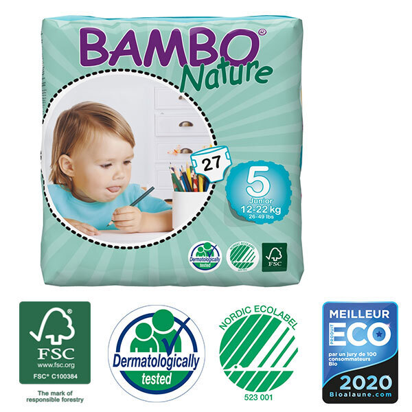 Bambo Nature - Pack 4 paquets 27 couches jetables T5 Junior 12-22 Kg