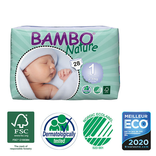 Bambo Nature - Pack 4 paquets 28 couches jetables T1 Newborn 2-4 Kg
