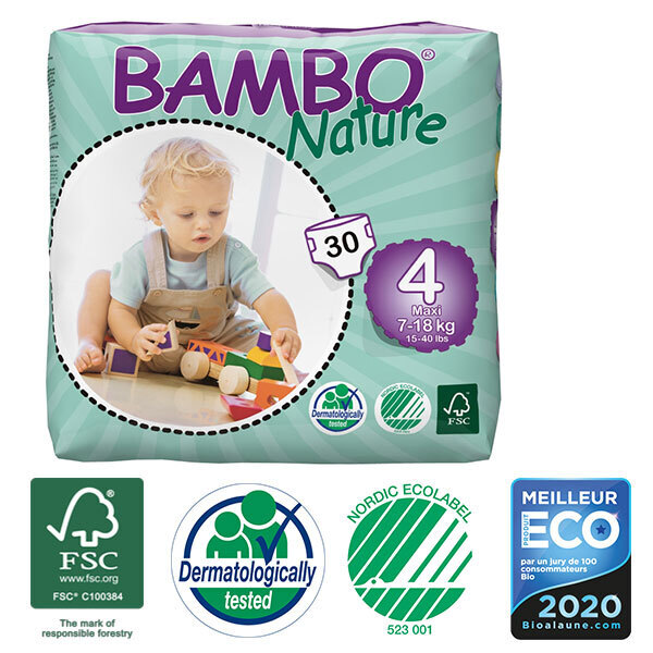 Bambo Nature - Pack 4 paquets 30 couches jetables T4 Maxi 7-18 Kg