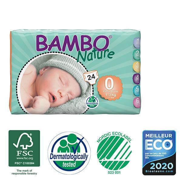 Bambo Nature - Pack 6 paquets 24 couches jetables T0 Prémature 1-3 Kg