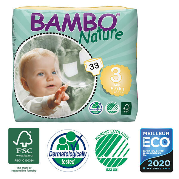 Bambo Nature - Pack 8 paquets 33 couches jetables T3 Midi 5-9 Kg