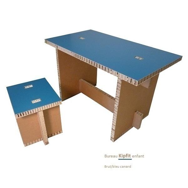 bureau enfant kipfit en carton brut et bleu cartonstyl. Black Bedroom Furniture Sets. Home Design Ideas