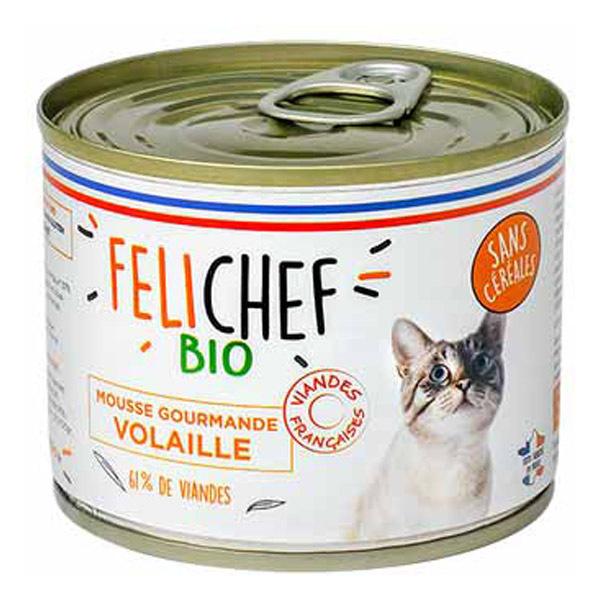 Felichef - Mousse sans céréales chat Volaille 200g