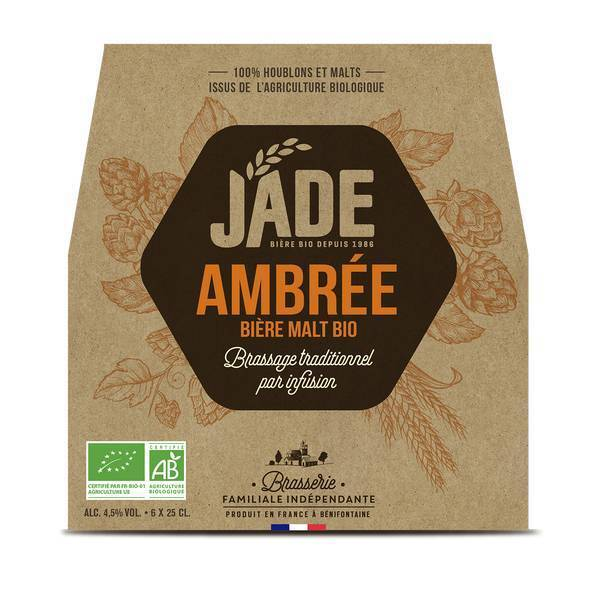 Jade - Bière ambrée bio Jade 6x25cl