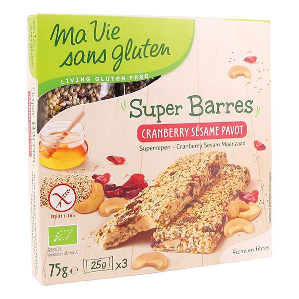 Ma Vie Sans Gluten - Super barres Sésame cranberry pavot 75g