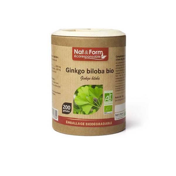 Nat & Form - Ginkgo Biloba bio x 200 gélules
