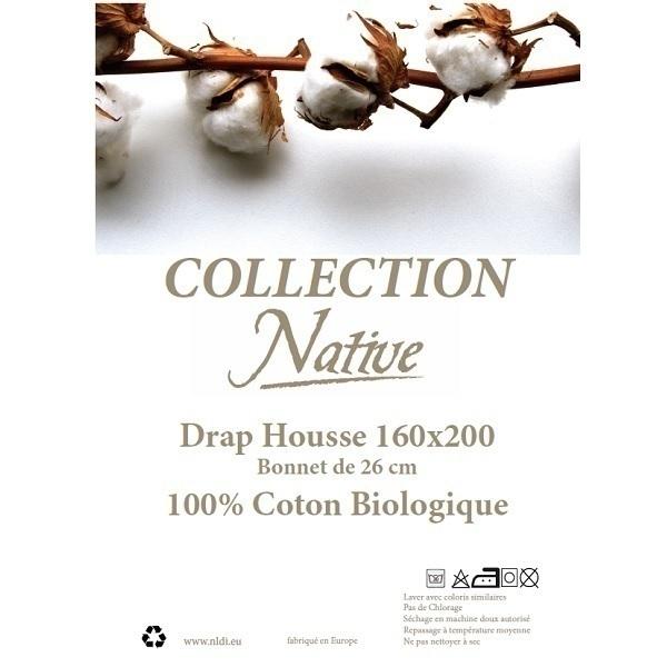 Native - Drap housse 100% coton bio Blanc 160x200cm