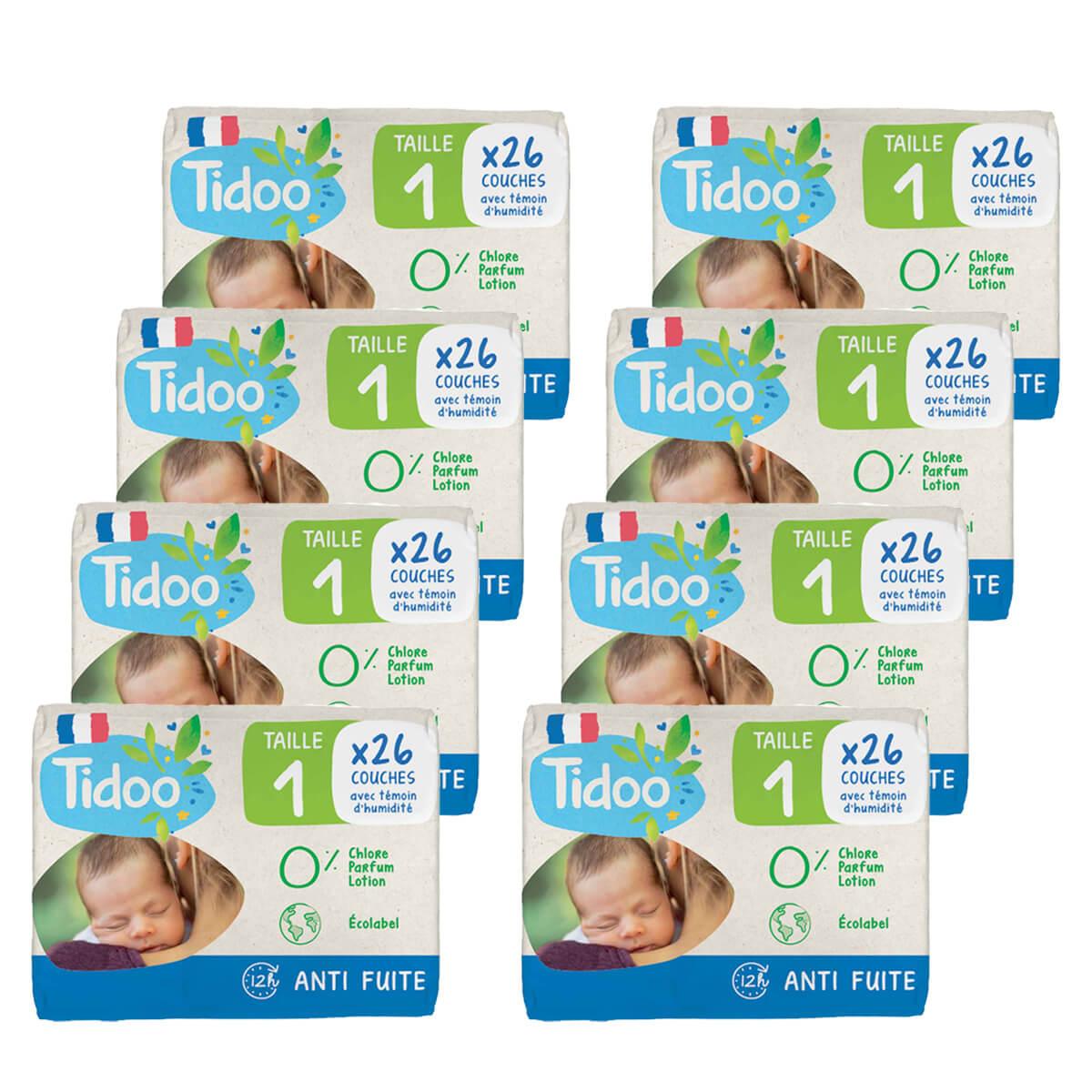 Tidoo - Pack 8x26 Couches T1 2-5kg Hypoallergéniques Nature