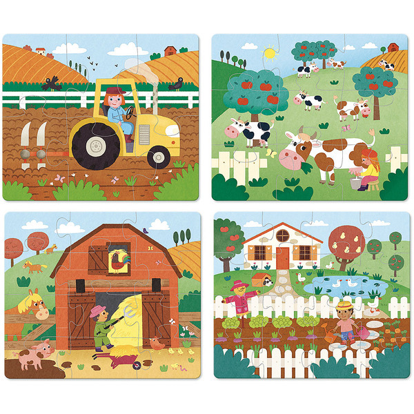 Vilac - 4 Puzzles évolutifs ferme en bois - Dès 2 ans