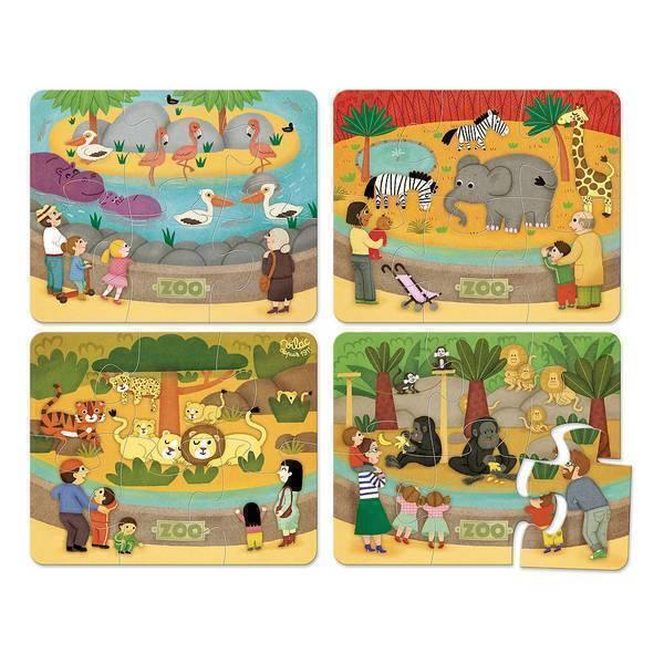 Vilac - 4 Puzzles Les animaux du zoo en bois - Dès 2 ans