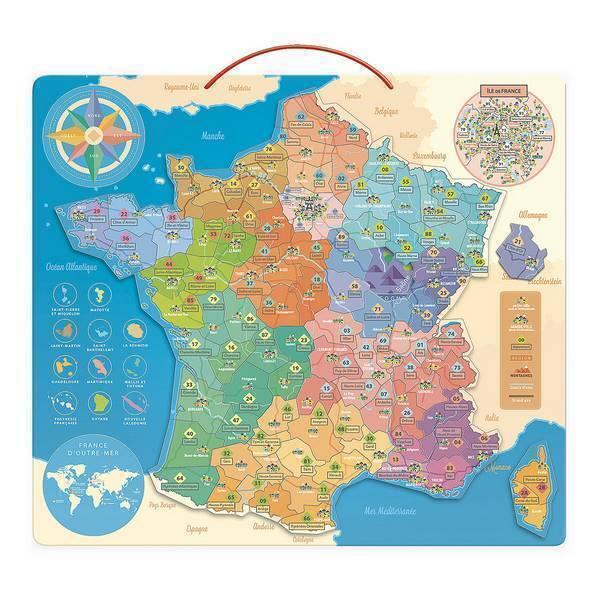 Vilac - Carte de France éducative en bois - Dès 6 ans