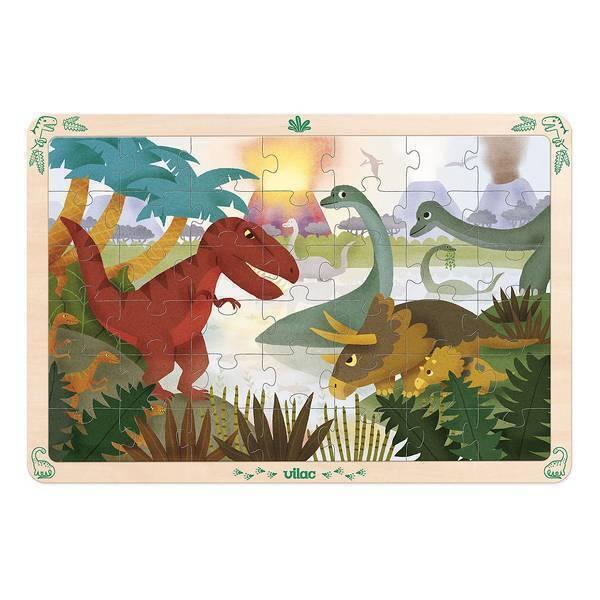 Vilac - Grand puzzle les dinosaures 42 pièces en bois - Dès 4 ans