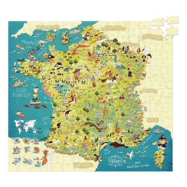 Vilac - Puzzle Carte des merveilles de France 300 pièces - Dès 8-12 ans