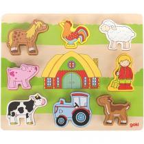 Goki - Puzzle Ferme, 8 éléments - Dès 2 ans