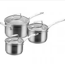 Scanpan - Set de 3 casseroles Impact en inox avec couvercles
