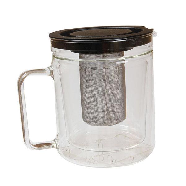 Simax - Théière verre borosilicate double paroi et filtre inox 1,1L