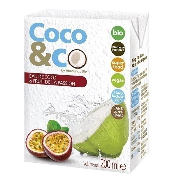 Autour du Riz - Eau de coco et jus de fruit de la passion - 200 mL