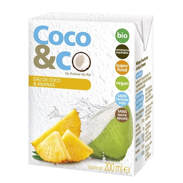 Autour du Riz - Eau de coco et jus d'ananas - 200 mL