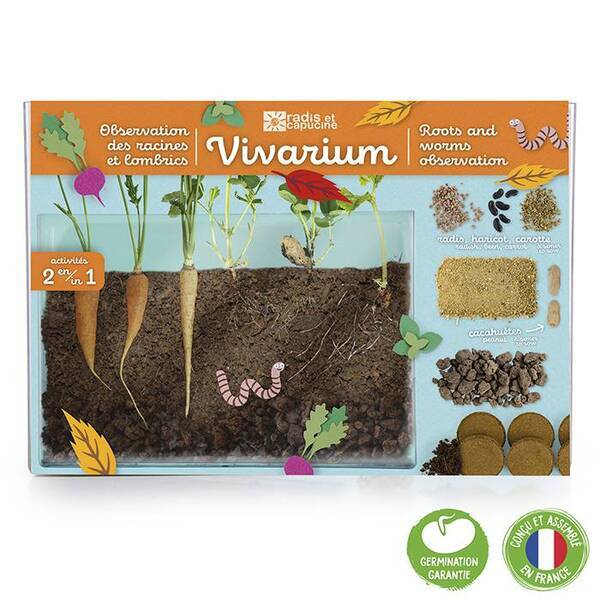 Radis et Capucine - Terrarium vivarium observation des racines et vers de terre
