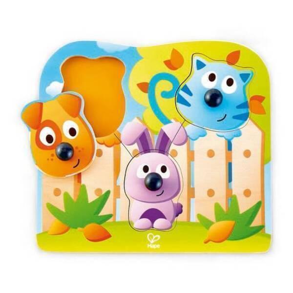 Hape - Puzzle gros boutons animaux de compagnie - Dès 12 mois