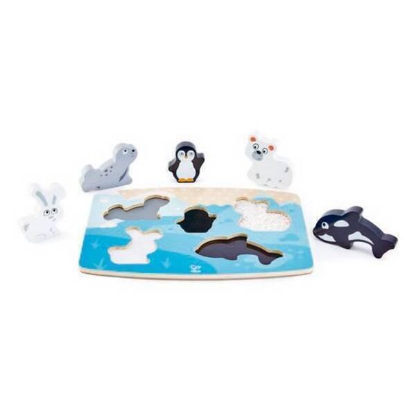 Hape - Puzzle tactile animaux polaires - Dès 24 mois