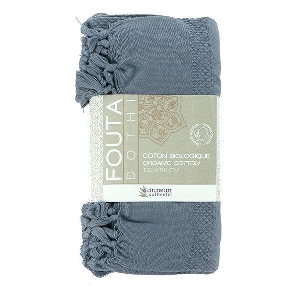 Karawan - Fouta Dhoti en coton bio couleur sauge 100cm x 50cm