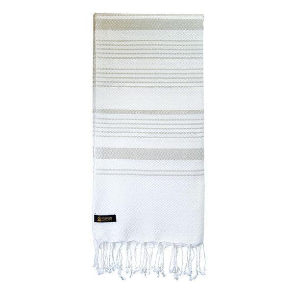 Karawan - Fouta de bain blanc et mastic en coton bio 100x200cm