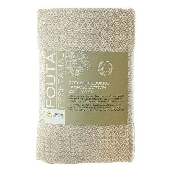 Karawan - Fouta de bain sable blanc en coton bio 100x200cm