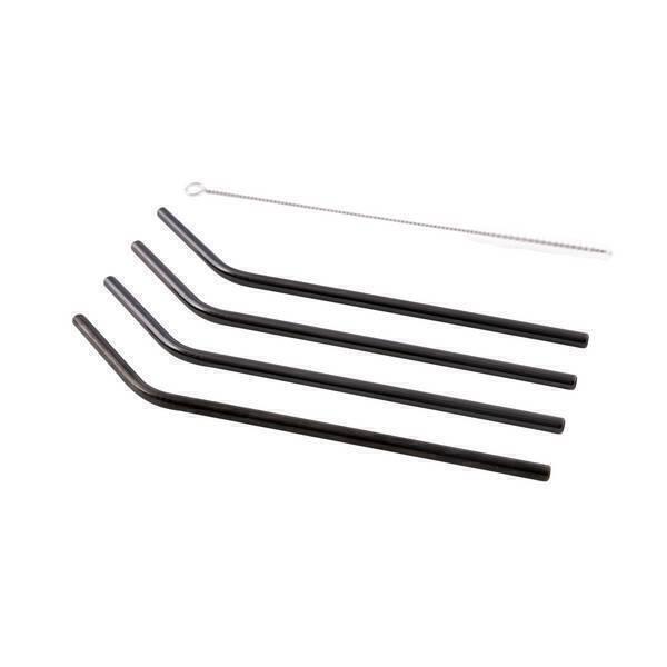 Point virgule - Set 4 pailles avec goupillon inox et noir 20,5cm