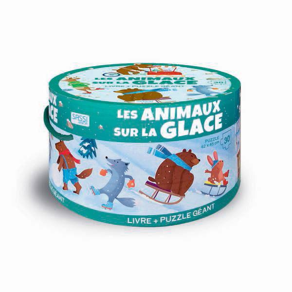SASSI Junior - Livre et puzzle géant Les Animaux sur la glace - Dès 3 ans