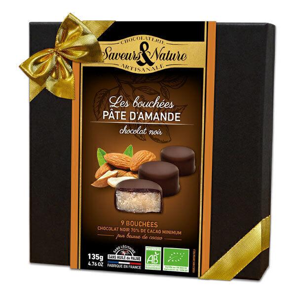 Saveurs & Nature - Coffret 9 bouchées pâte d'amande chocolat noir 135g